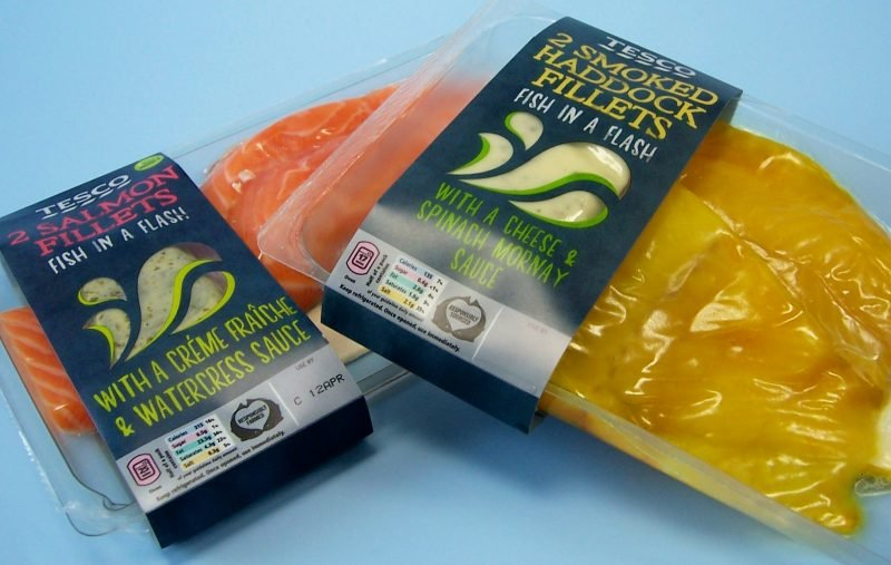sealed fresh food packaging plate and wrapper for fish.