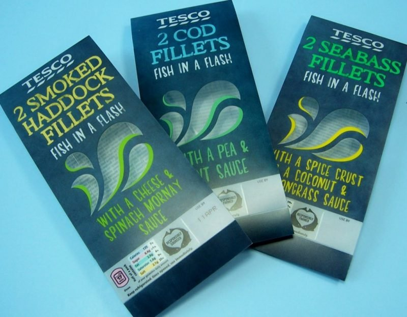 mixed material tesco fish fillet plastic food packaging with plastic film insert
