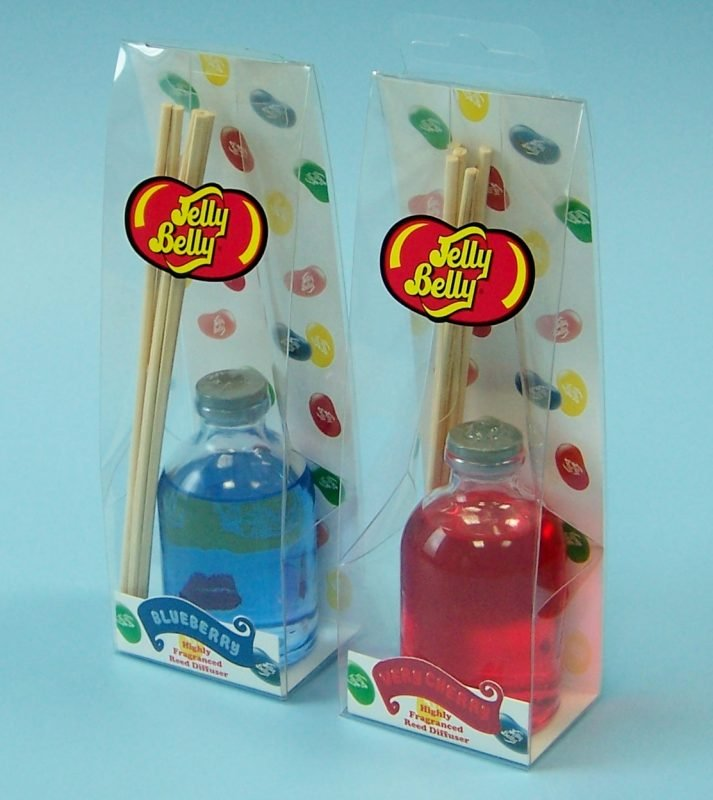 plastic packaging for incense set: one blue, one red.