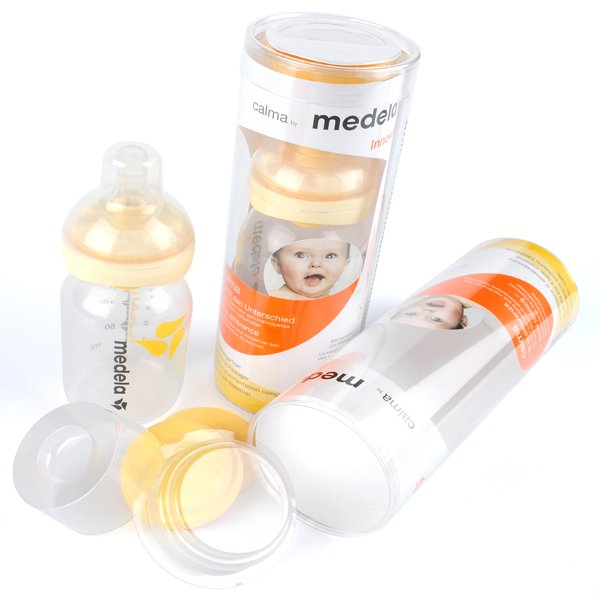 baby bottle in printed acetate packaging