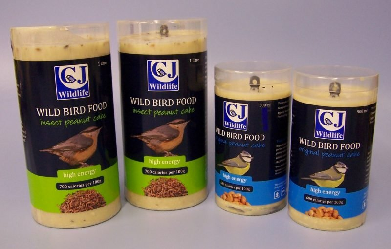 2 large and 2 small package designs for bird food