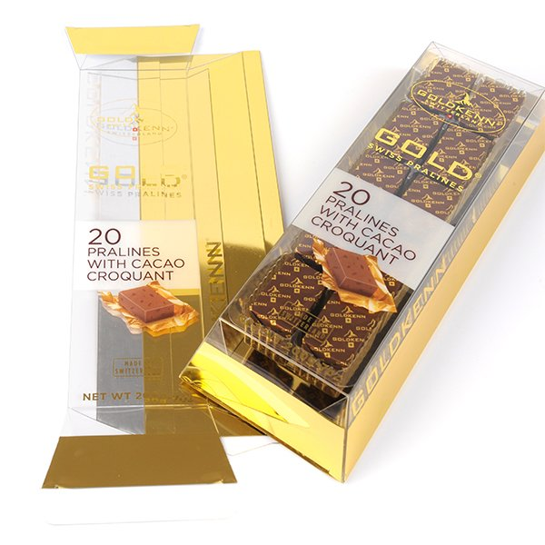 golden custom plastic packaging for chocolate gift