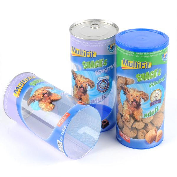 3 tins of colourfully packaged food tins for puppies