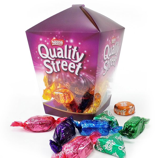 printed acetate box for quality street chocolates
