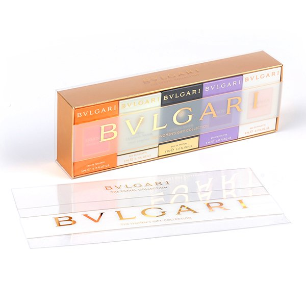 A clear packaging box for a set of makeup products
