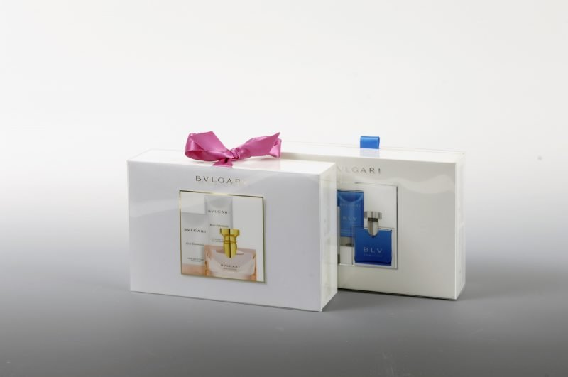 Bvlgari perfume boxes in plastic wrapping, gift edition