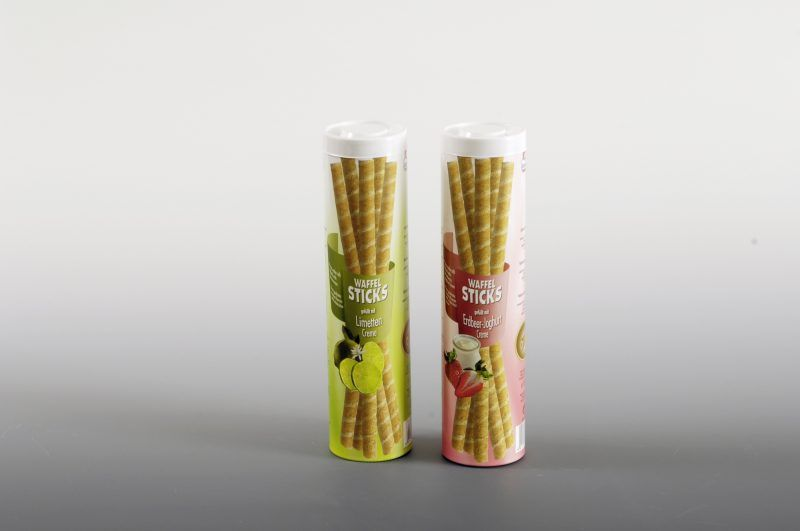 plastic tube boxes for confectionery waffles