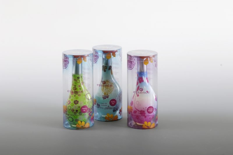 Three sets of printed clear plastic box for perfume bottles