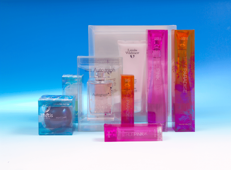 A wide range of plastic packaging boxes for perfume of all shapes and sizes