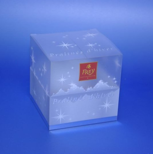 printed square plastic packaging box for chocolate pralines