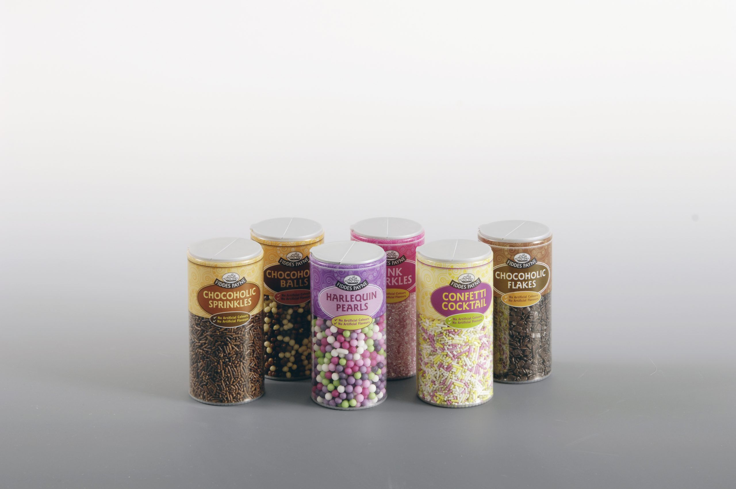 custom clear tube packaging for confectionery sprinkles