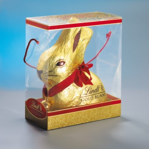 clear plastic gift box for a lindt chocolate bunny