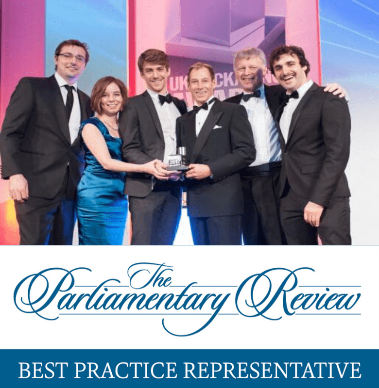 An image of Staeger Team receiving an award, and a banner for parliamentary review