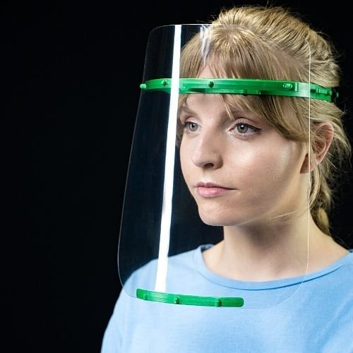 face shield made from recyclable plastic