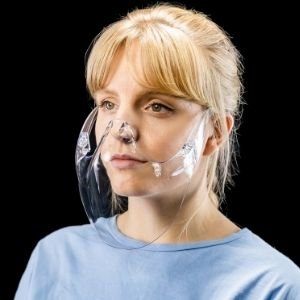 clear face mask made from UK recycled plastic