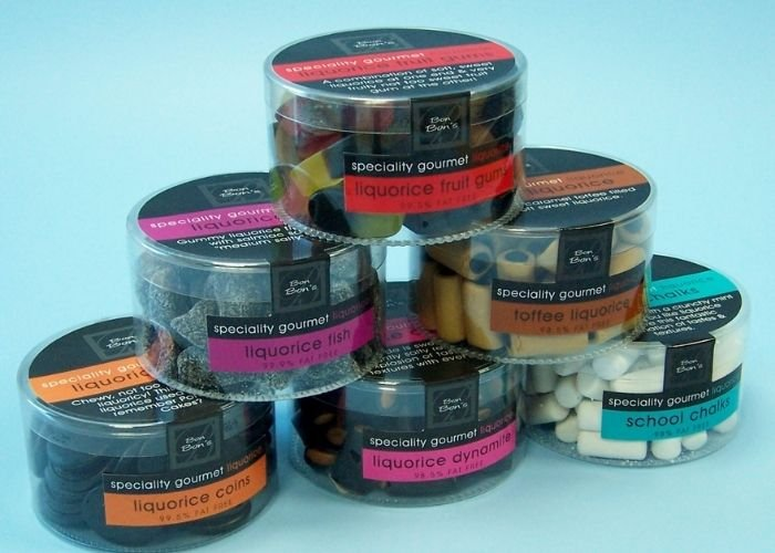 gourmet sweets round acetate boxes